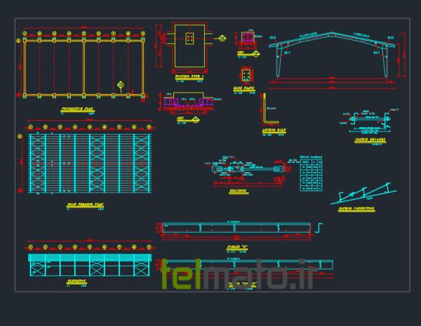 دانلود 9 نقشه اتوکد سازه سوله به همراه جزئیات دقیق اتصالات + فایل آماده DWG