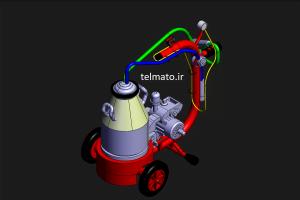 دانلود پروژه طراحی دستگاه شیر دوش گاو در کتیا catia رایگان