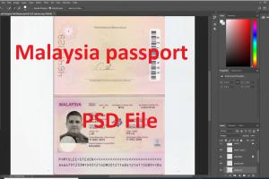 دانلود رایگان فایل لایه باز پاسپورت / آیدی کارت و قبض مالزی برای وریفای حساب پی پال و سایر سایت هاMalaysia Passport Full Version psd file for photoshop